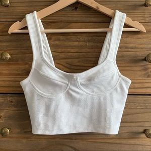 ASOS White Bustier Stretch Cropped Tank Top 4/S